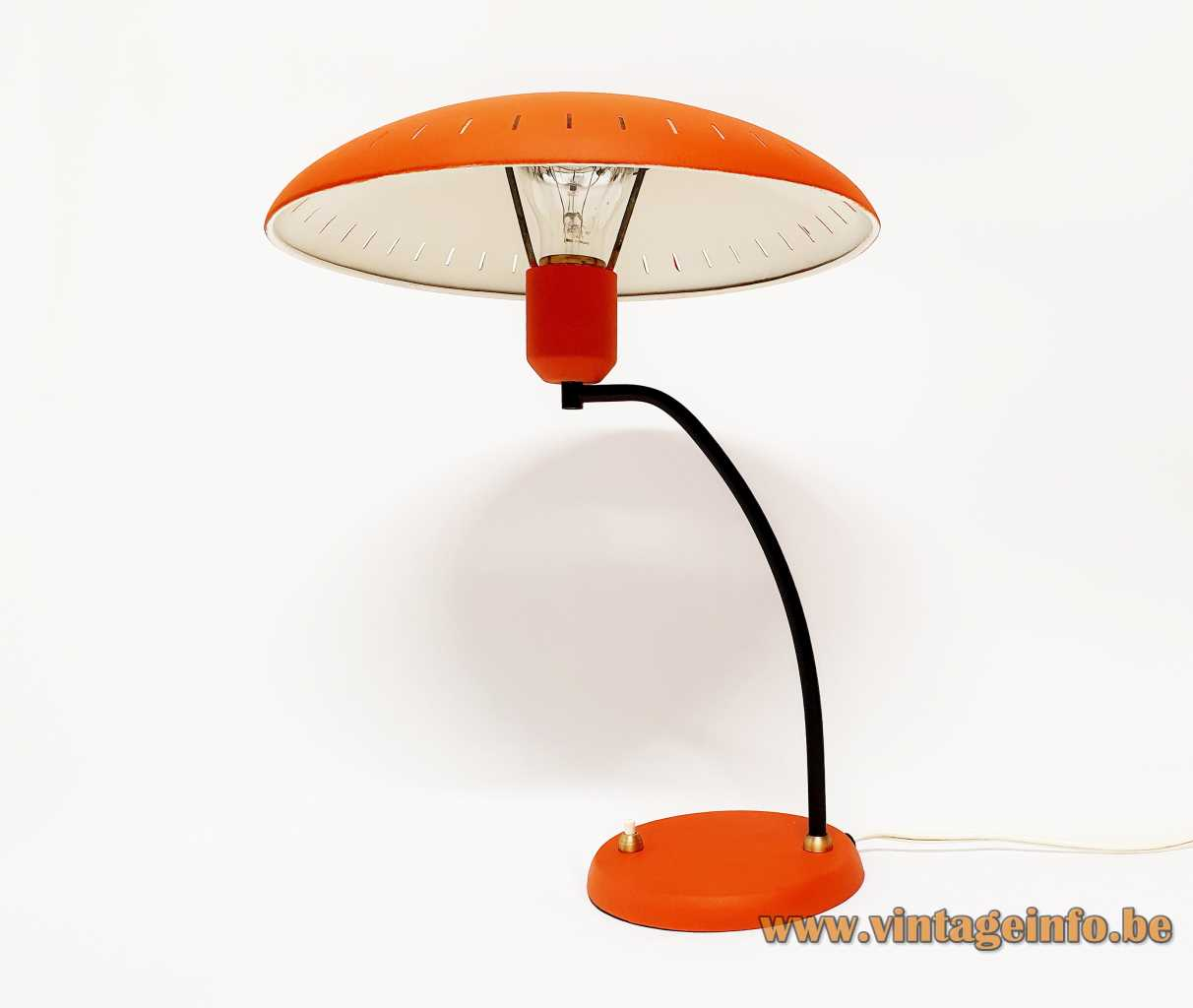 Philips Junior desk lamp 1955 design: Louis Kalff orange mushroom lampshade brass curved rod 1950s 1960s