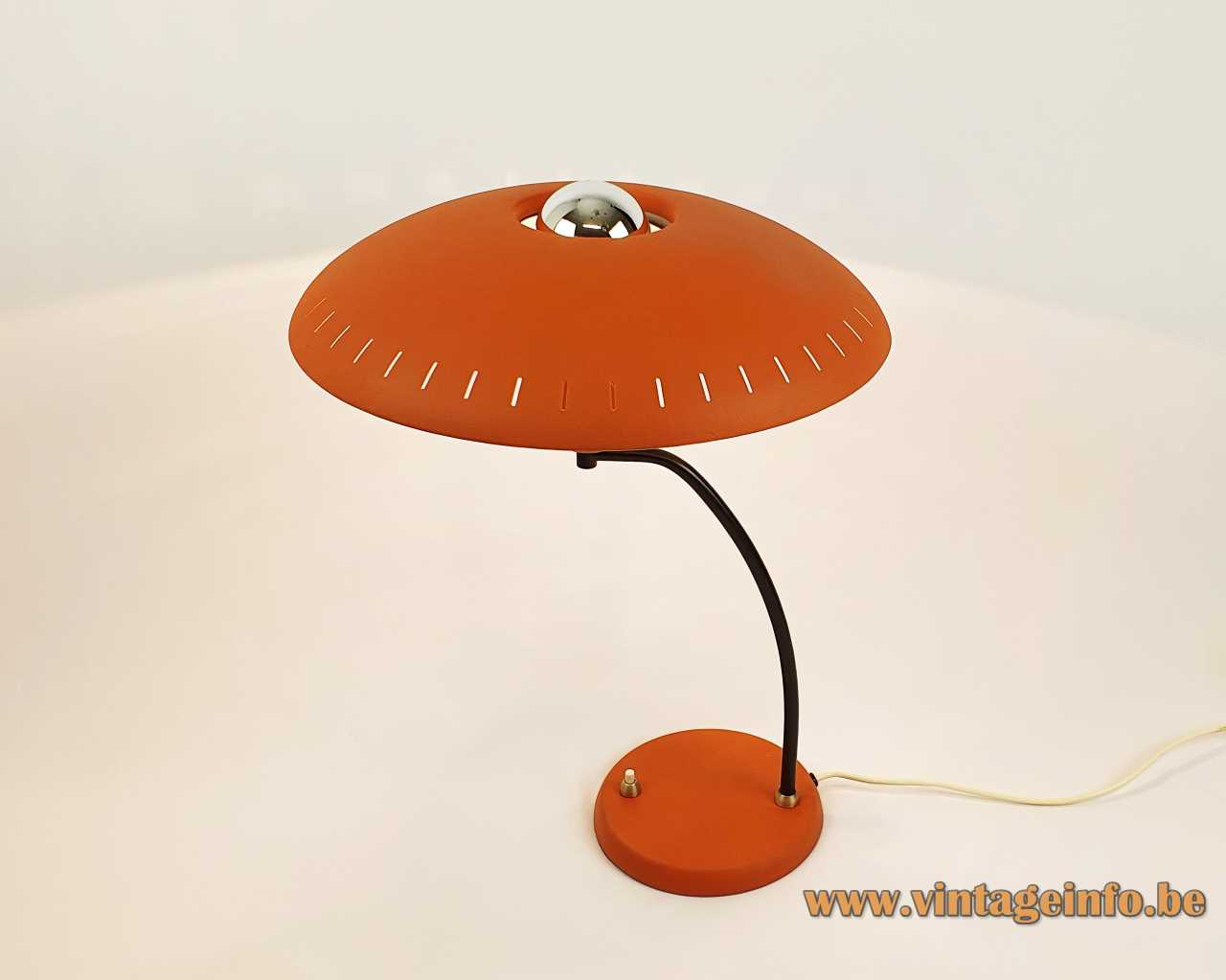 Philips aPhilips Junior desk lamp 1955 design: Louis Kalff orange mushroom lampshade brass curved rod 1950s 1960sJunior desk lamp design: Louis Kalff orange metal black curved rod mushroom lampshade 1950s 1960s