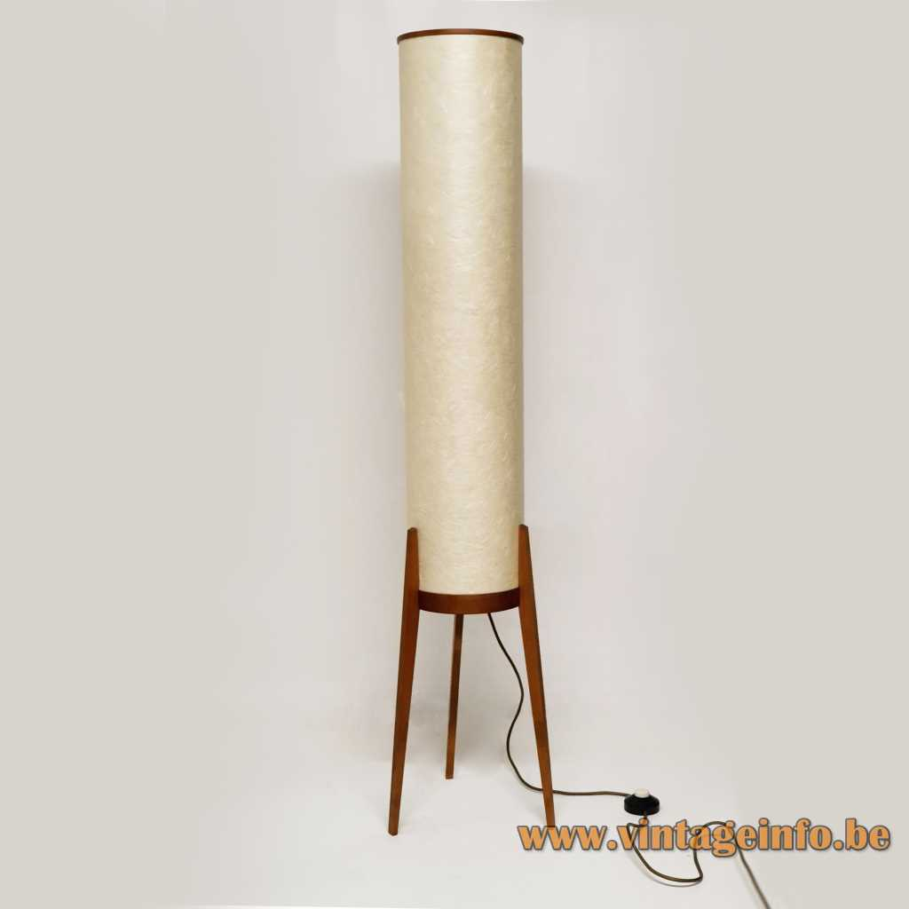 Swedish tripod rocket floor lamp white fibreglass tube 3 wood legs 1950s 1960s 2 E27 bulbs