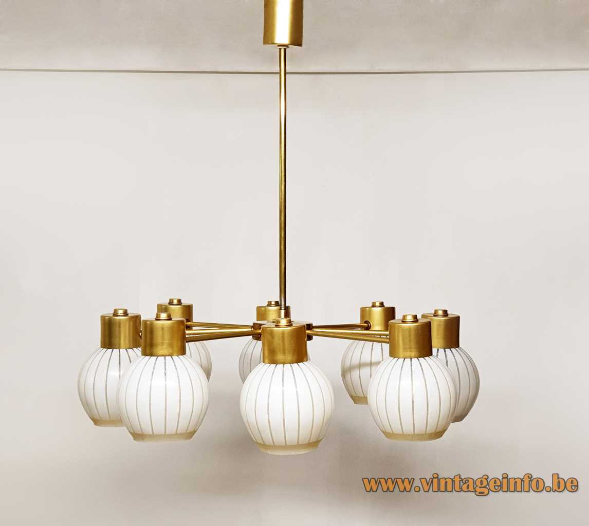 VEB Wohnraumleuchten striped globes chandelier 8 glass lampshades brass rods 1960s 1970s East Germany GDR Ilmenau