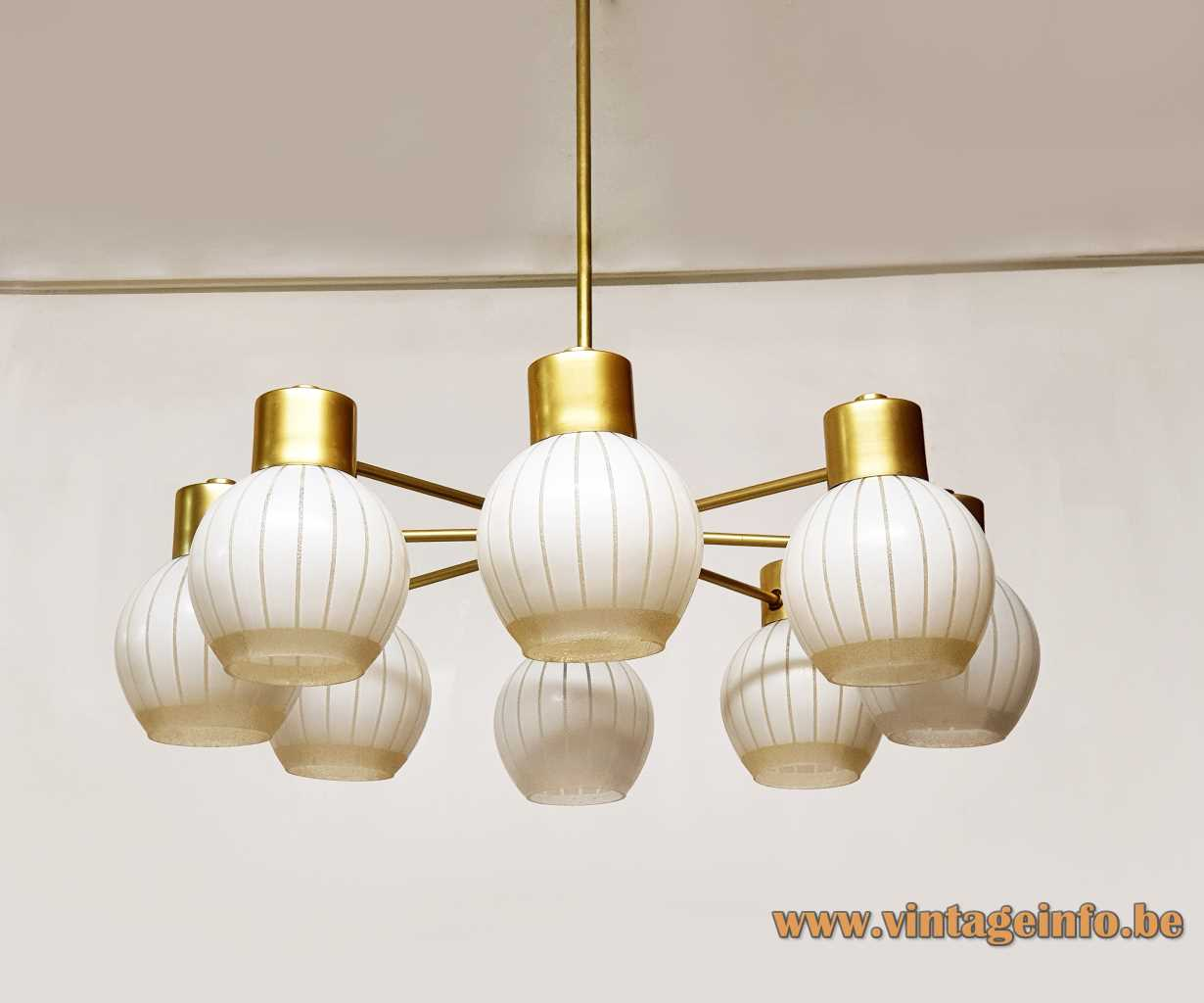 VEB Wohnraumleuchten striped globes chandelier 8 glass lampshades brass rods 1960s East Germany GDR Elektro-Medizingeräte