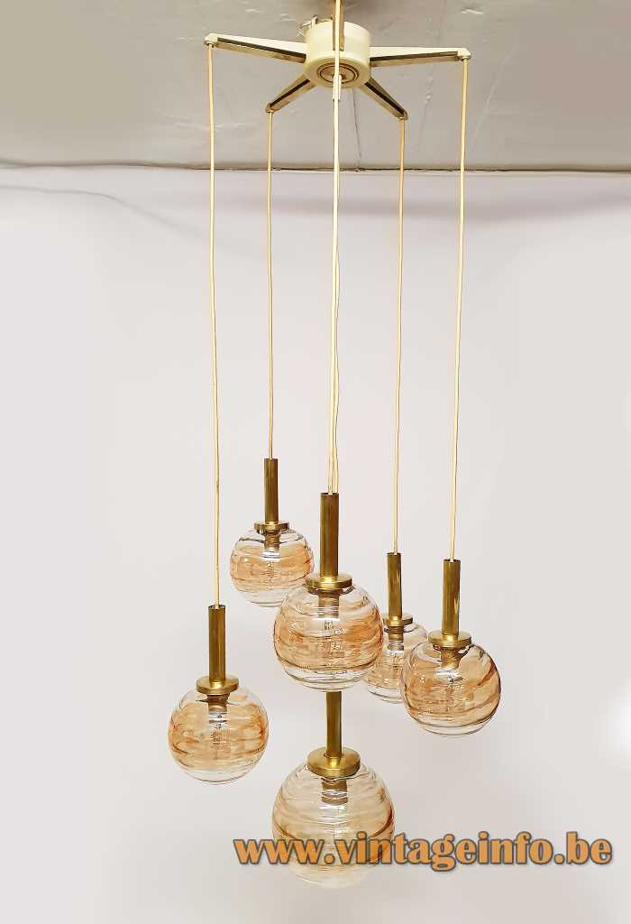 Wortmann globe pendant chandelier with six cascade hanging amber and clear glass lamps 1960s WOFI Leuchten
