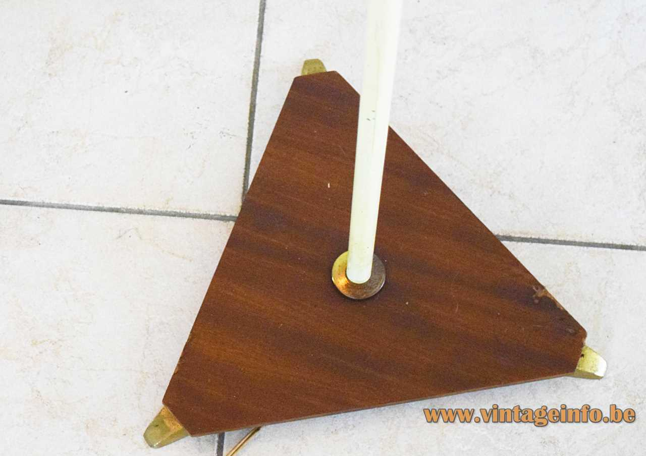 1950s Van Haute floor lamp triangular wood base & handle white brass rods conical yellow lampshade VH