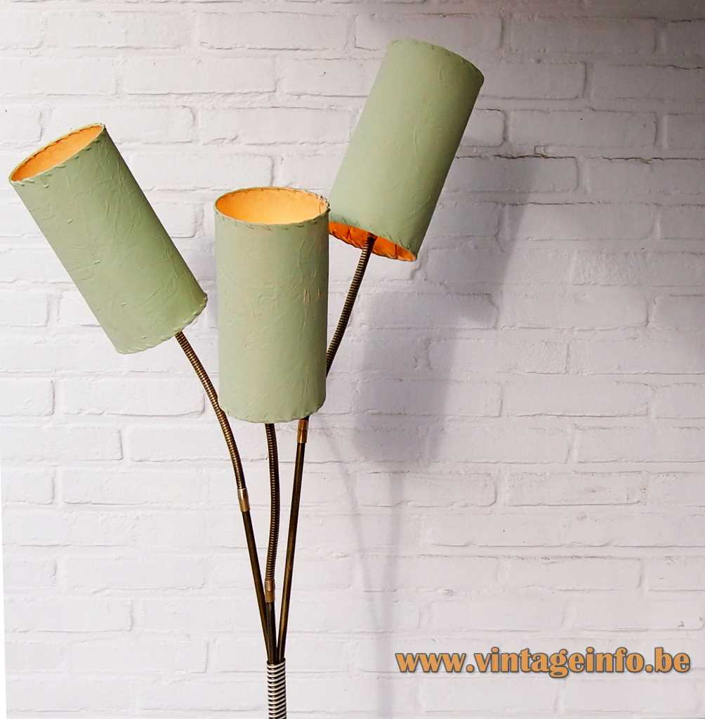 1970s tubular lampshades floor lamp faux crocodile alligator skin base long brass rods Aro Leuchte Germany