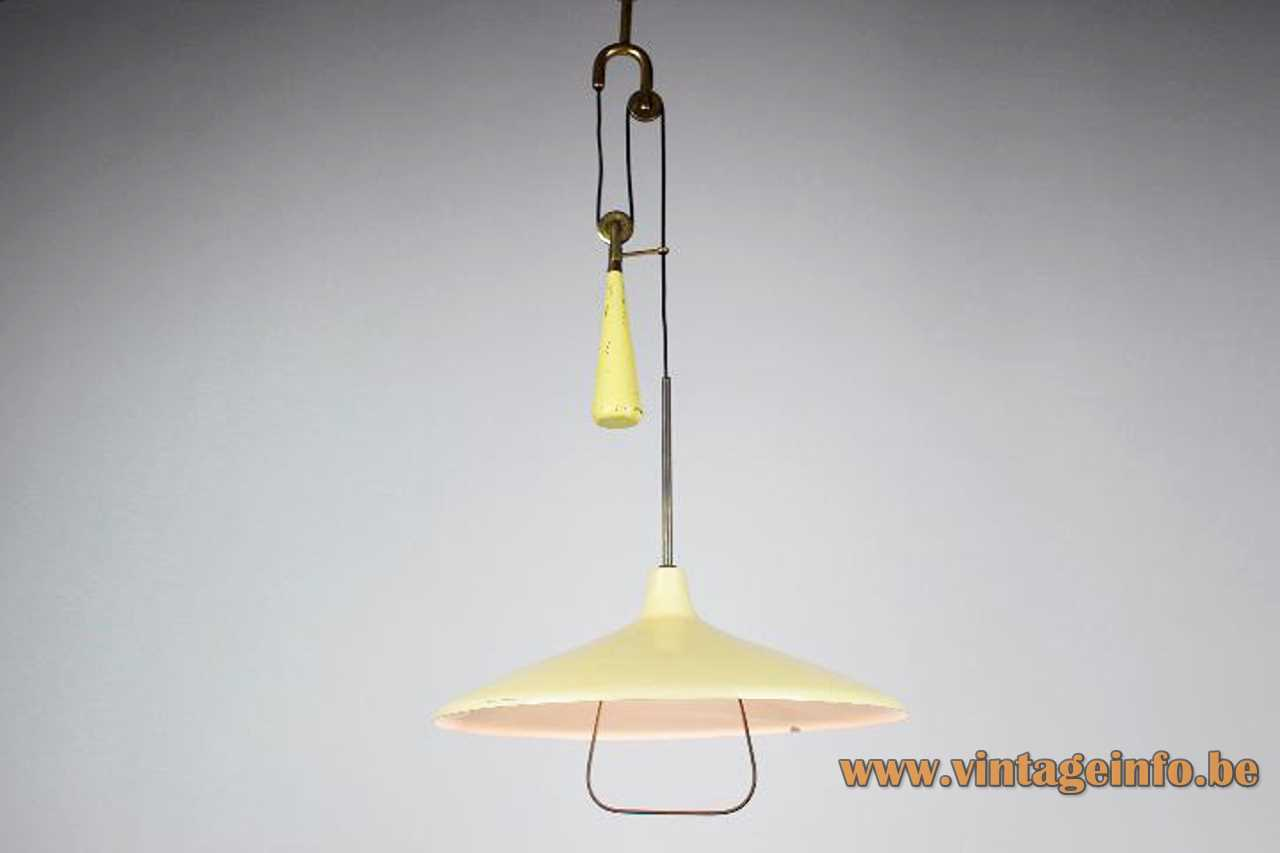 Angelo Lelii 1940s pendant lamp yellow metal lampshade handle conical counterweight pulley 1950s Arredoluce design Italy