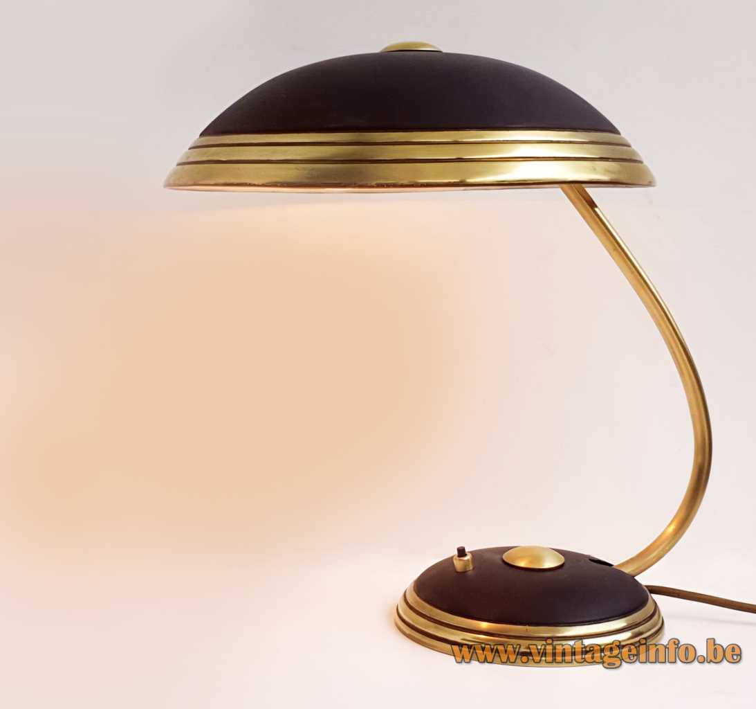 Black Helo Leuchten desk lamp round brass base rings mushroom lampshade curved rod 1950s 1960s Germany