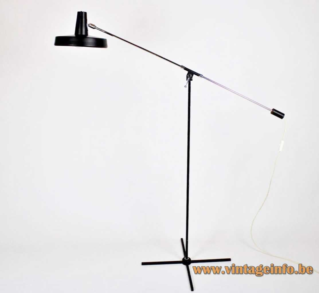 Boulanger counterbalance floor lamp black cross base long chrome rod round lampshade 1970s Belgium E27 socket