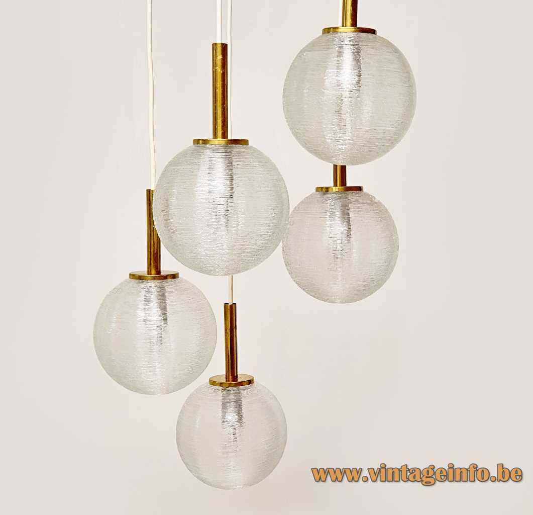 DORIA 5 glass globes cascading chandelier pendant lamps glass wire brass tubes 1960s 1970s Germany