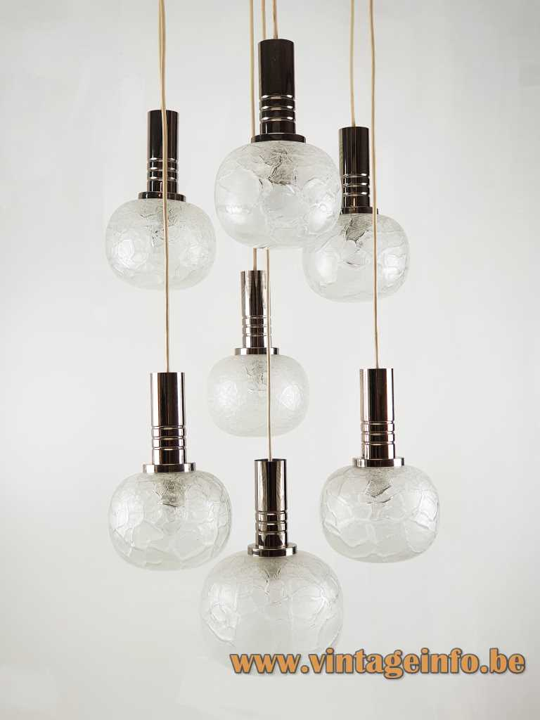 DORIA crackle glass pendant chandelier chrome ribbed tubes 7 cascading hand blown frosted globes 1970s Germany