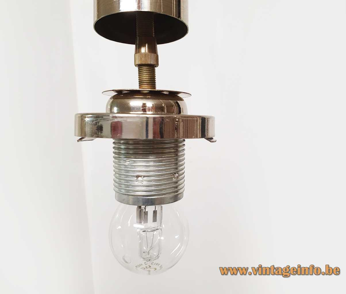 DORIA crackle glass pendant chandelier chrome ribbed tubes 7 cascading hand blown frosted globes 1970s socket