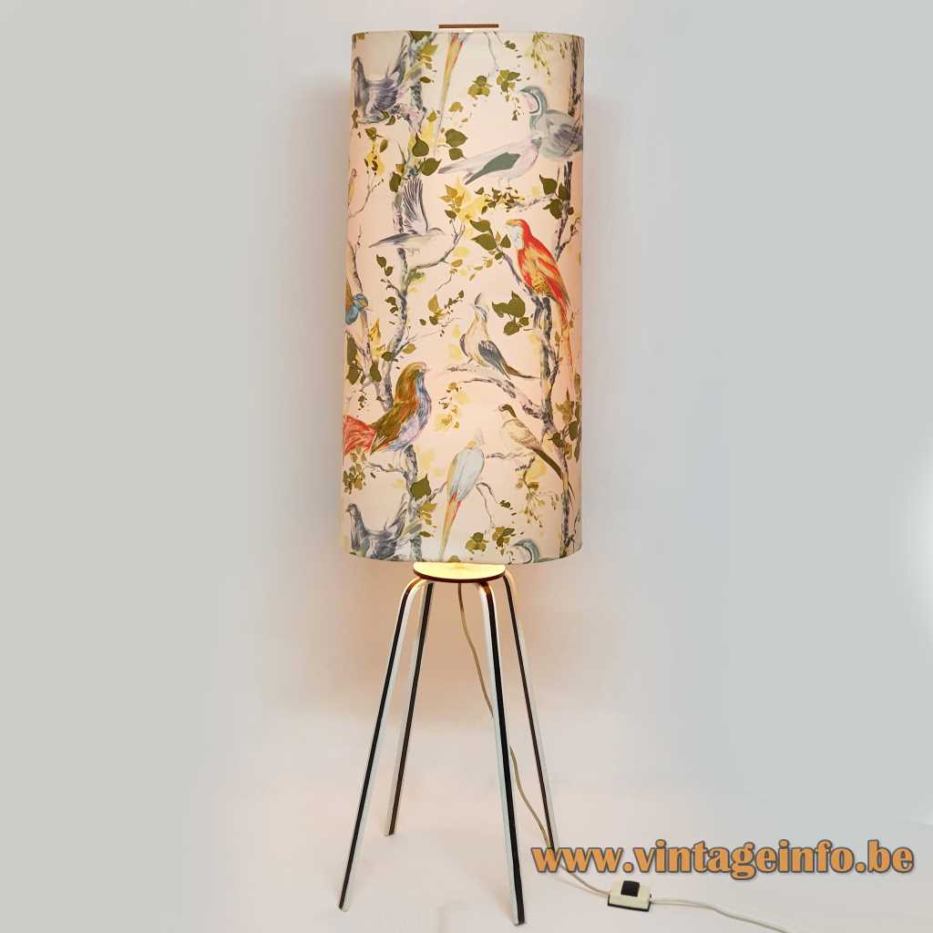 Exotic birds floor lamp 4 metal legs long tubular colourful lampshade top handle 1960s 1970s Germany