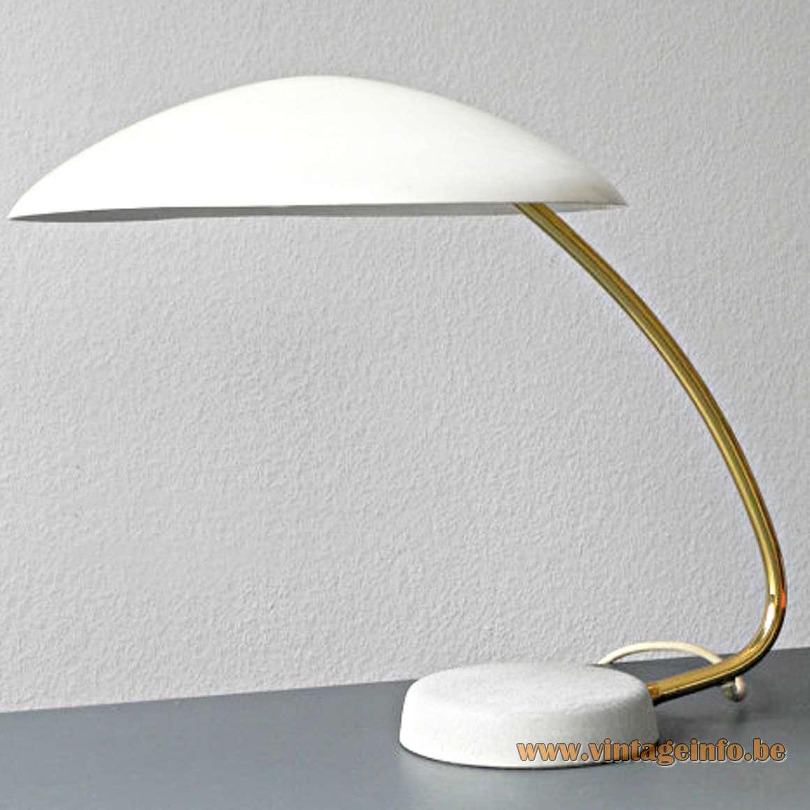 Gebrüder Cosack UFO desk lamp cast iron base brass rod white aluminium lampshade Germany 1950s 1960s
