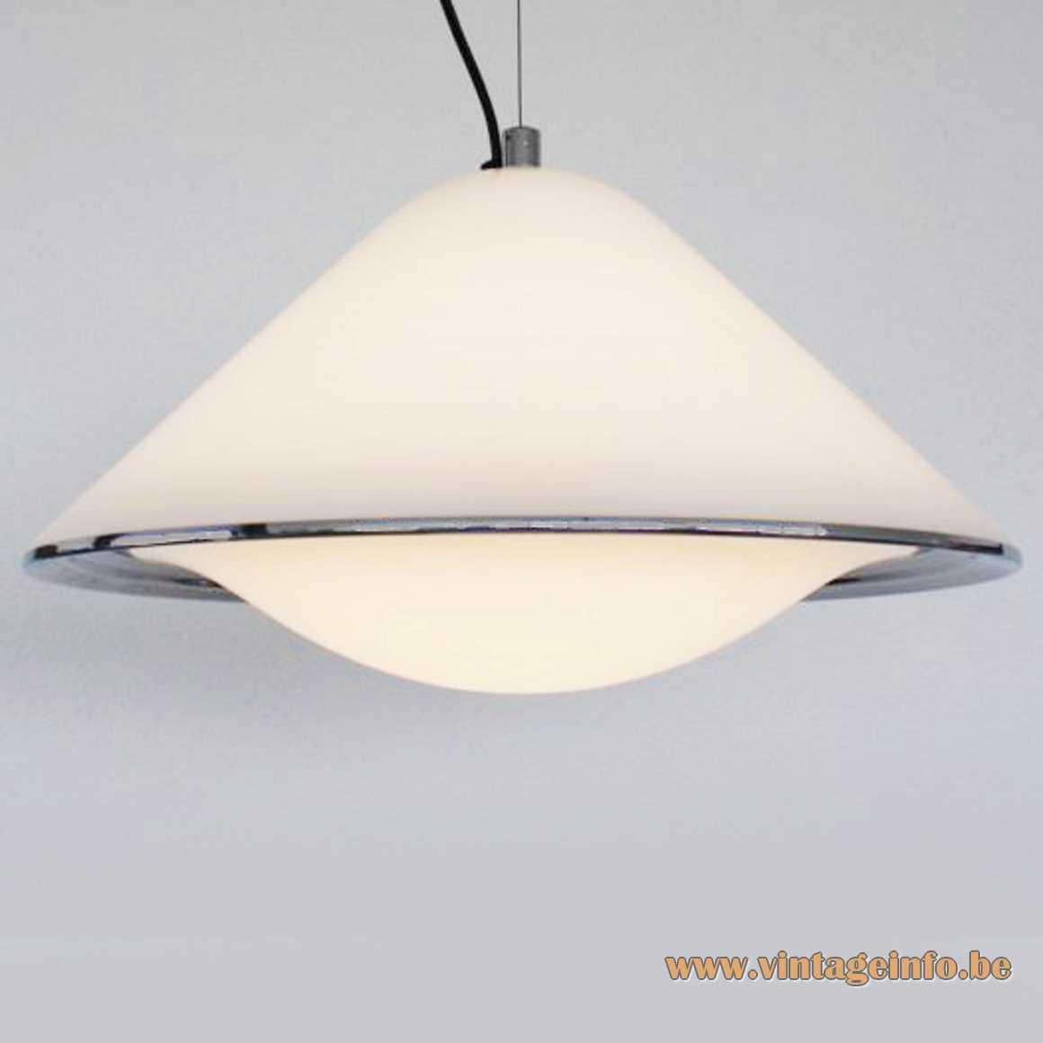 Harvey Guzzini Elpis pendant lamp white conical acrylic mushroom lampshade chrome ring iGuzzini Meblo 1960s 1970s