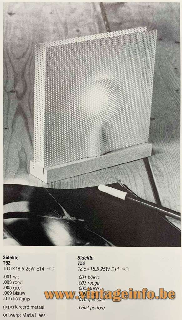 Indoor Sidelite Table Lamp - 1979 Design: Maria Hees, The Netherlands - Catalogue Picture