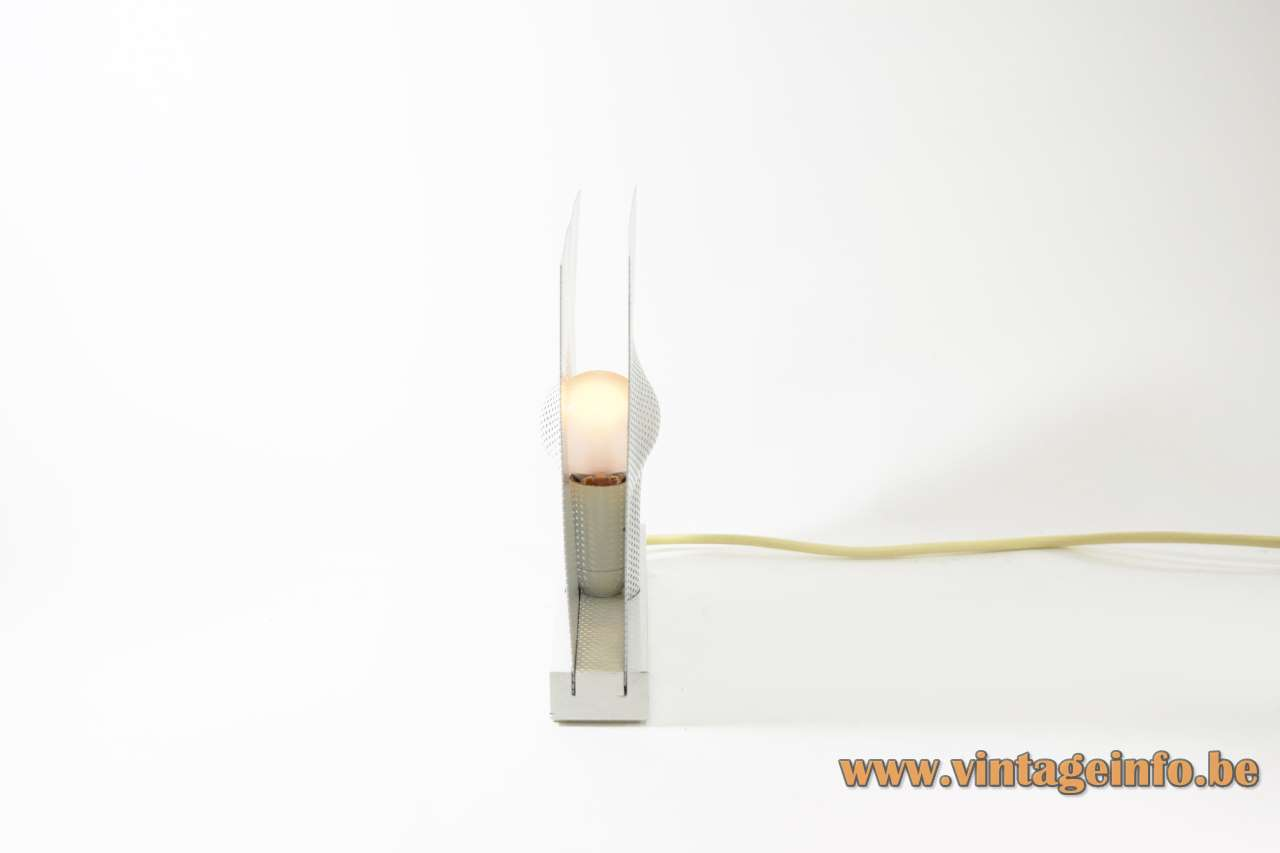 Indoor Sidelite table lamp 1979 design: Maria Hees square white mesh grid 1970s 1980s E14 socket