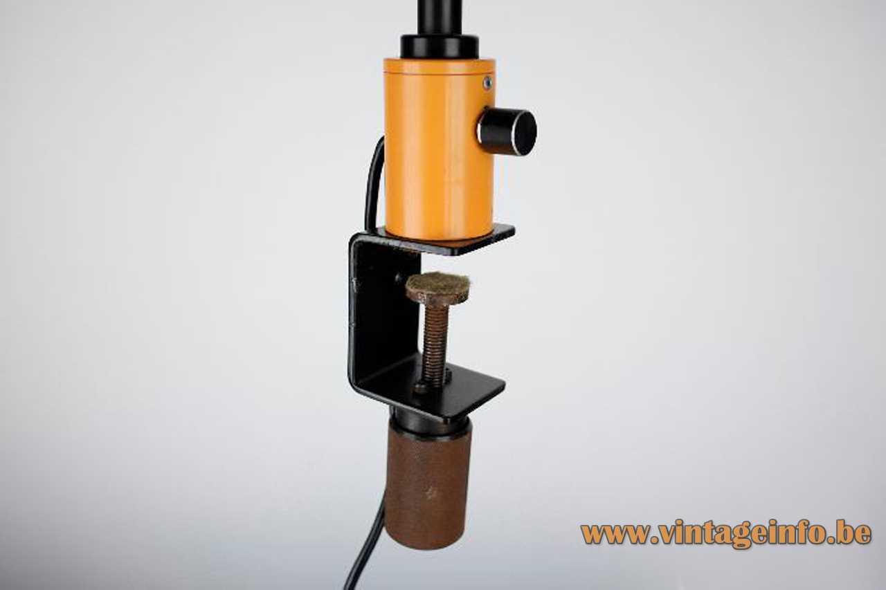 Josep Magem Madom clamp lamp 1970s design orange base & lampshade black gooseneck dimmer Barcelona Spain