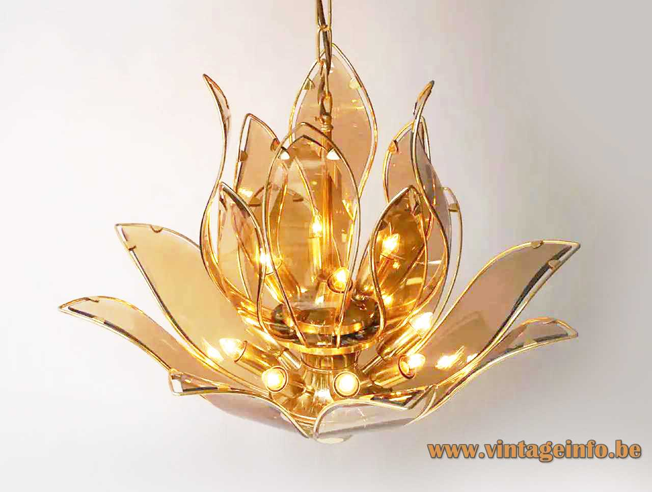 Lotus flowers glass chandelier brown curved leaves brass plated iron frame & chain 1980s 1990s Hong Kong