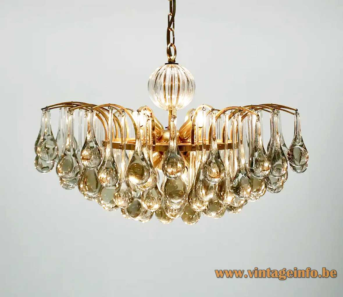 Palwa crystal teardrop chandelier curved brass rods & chain glas beads 1970s Palme & Walter Germany