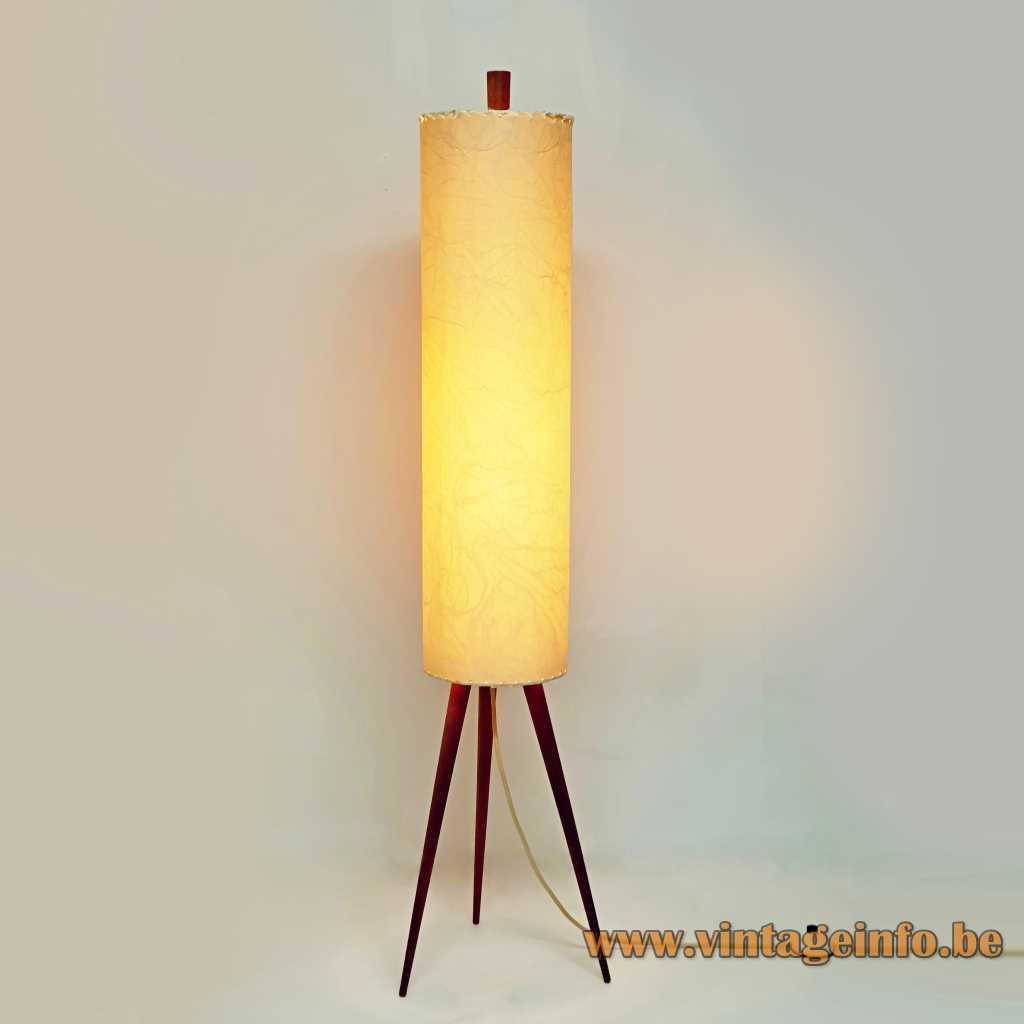 Parchment rocket floor lamp tripod teak wood base paper tubular lampshade 1950s 1960s 2 E27 sockets