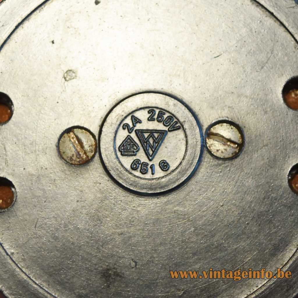 Parchment rocket floor lamp WN logo on the Bakelite black & white switch 1950s 1960s