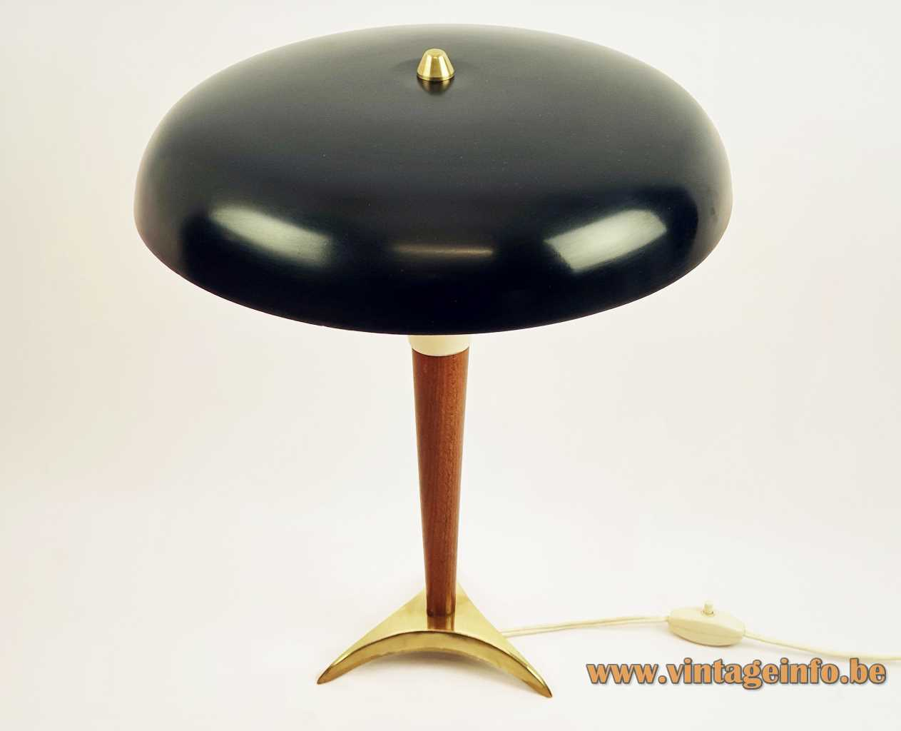 VEB Leuchtenbau tripod desk lamp 1950s design: Lutz Rudolf brass base conical wood rod mushroom lampshade