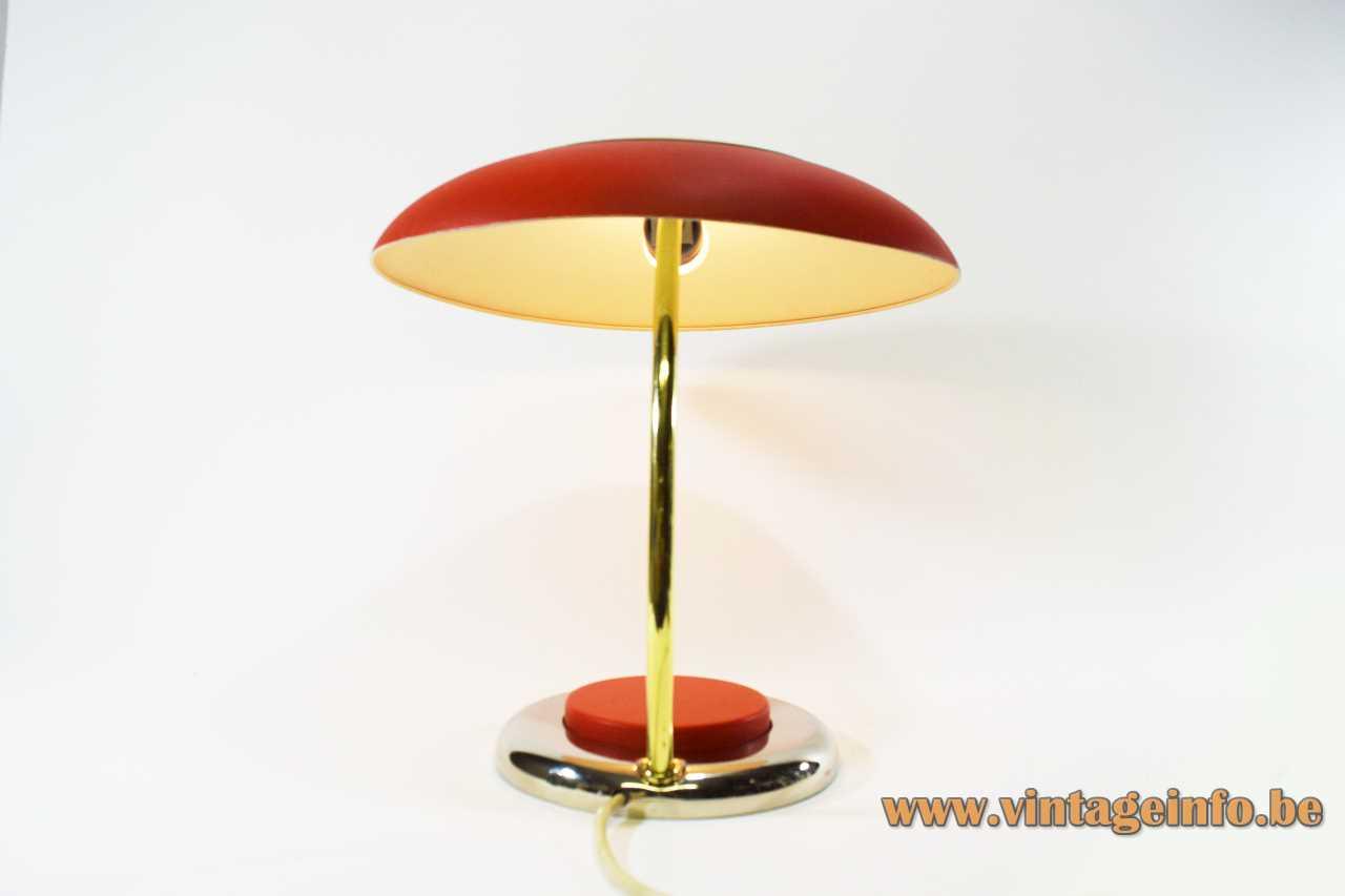 VEB NARVA mushroom desk lamp round base big red switch brass rod big lampshade 1970s GDR