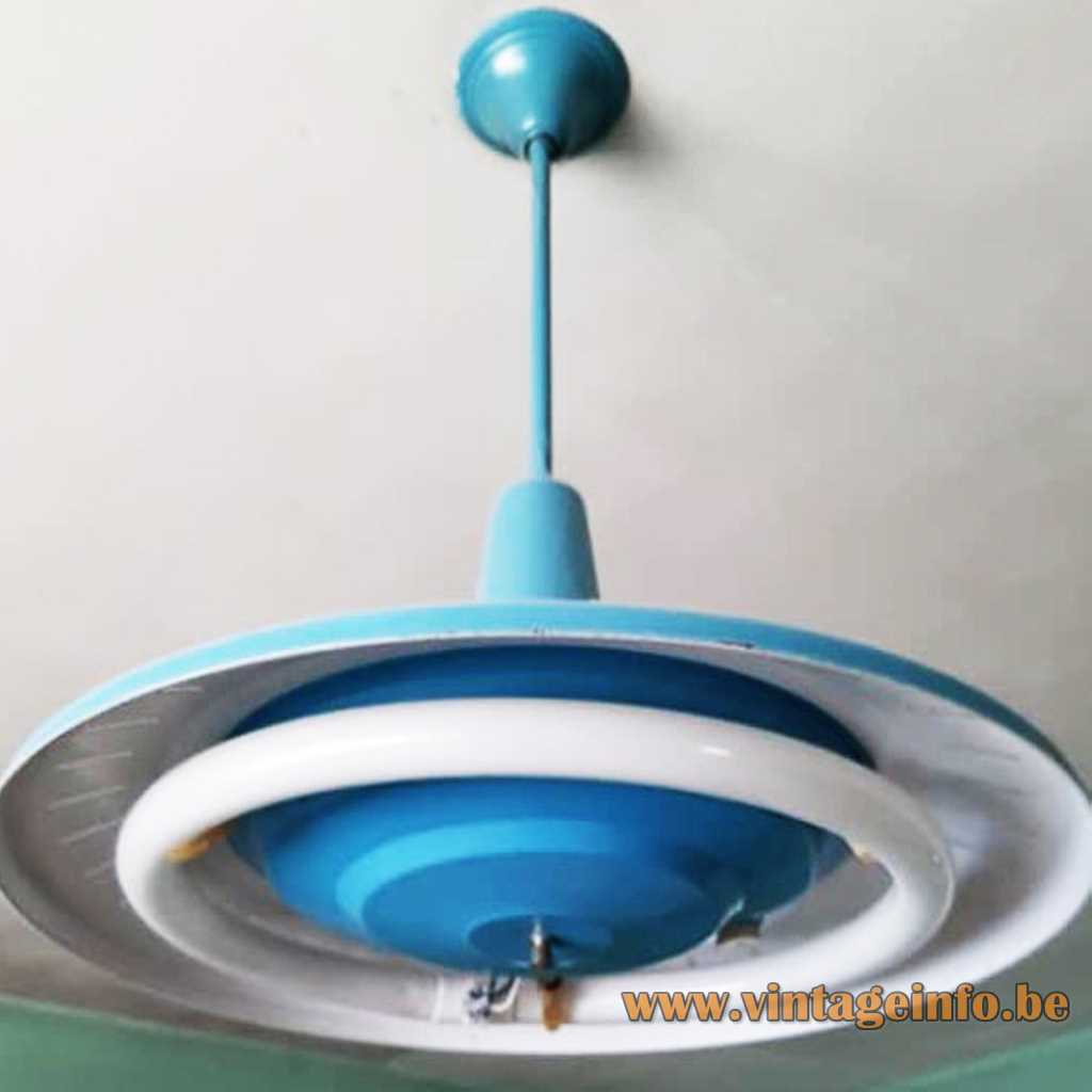 VH Van Haute metal pendant lamp circular fluoresence tube sold as Louis Kallf Philips 1950s 1960s