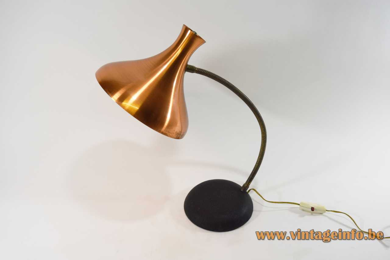 Van Haute copper diabolo desk lamp black round cast iron base brass gooseneck 1950s 1960s Belgium