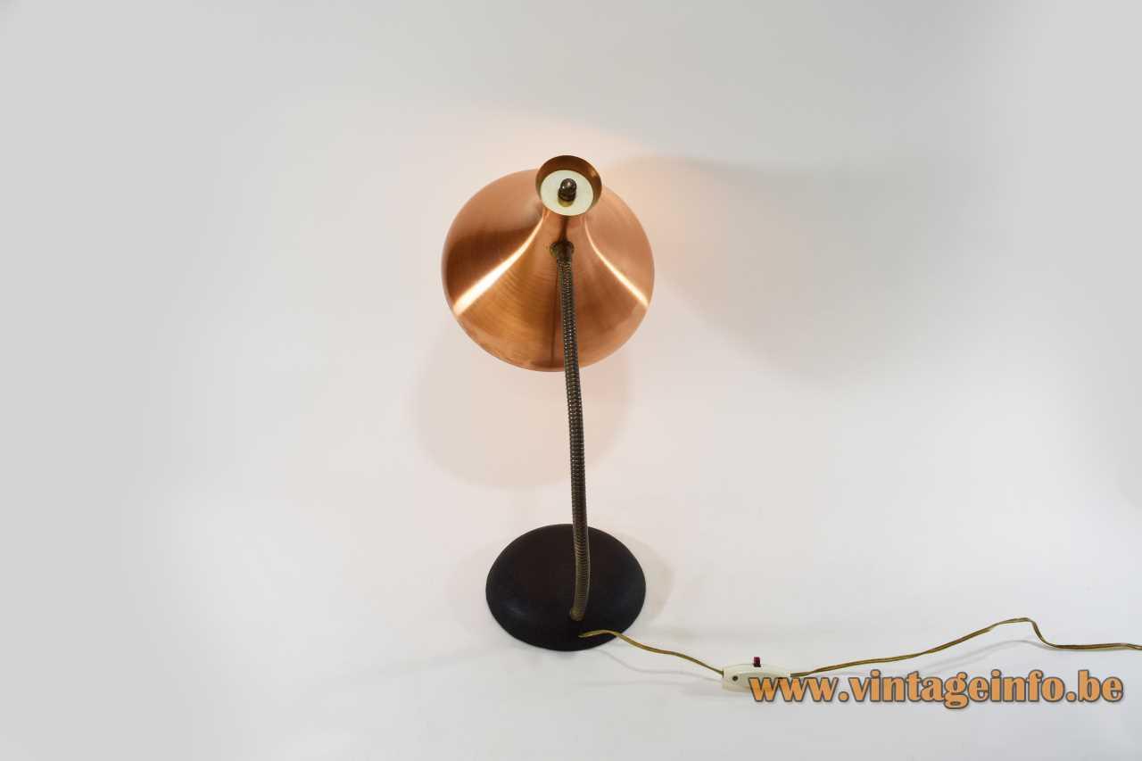 Van Haute copper diabolo desk lamp black round cast iron base brass gooseneck 1950s 1960s Belgium