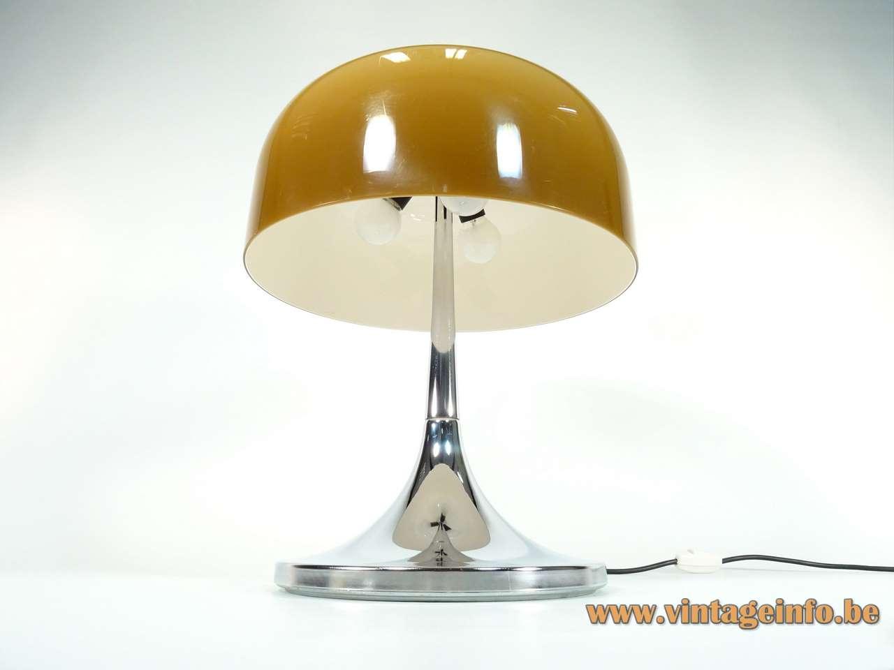 iGuzzini Medusa table lamp design: Luigi Massoni chrome base brown mushroom lampshade 1960s 1970s Harvey Guzzini