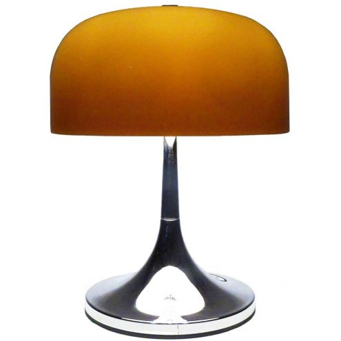 iGuzzini Medusa table lamp design: Luigi Massoni chrome base brown mushroom lampshade 1960s 1970s Harvey Guzzini