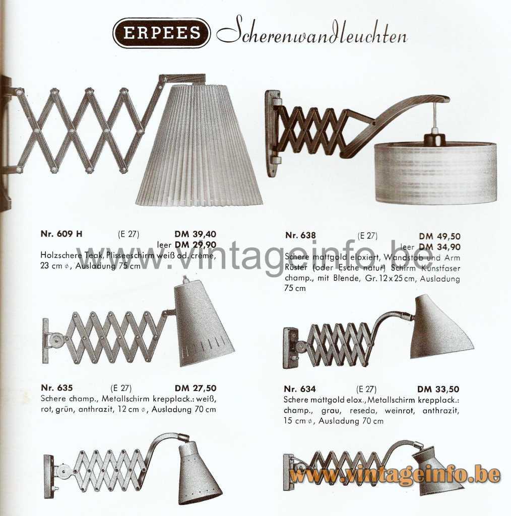 1950s Diabolo Scissor Wall Lamp - ERPEES 1964 Catalogue Picture