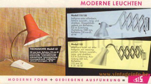 1950s Diabolo Scissor Wall Lamp - Model 105 - 1963 Catalogue Picture