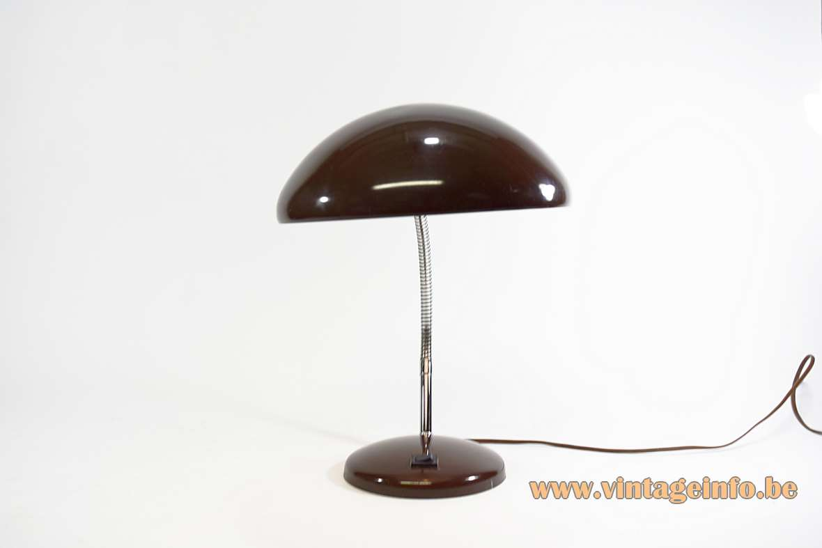 1970s Bauhaus style desk lamp round base chrome gooseneck mushroom lampshade Massive Belgium art deco