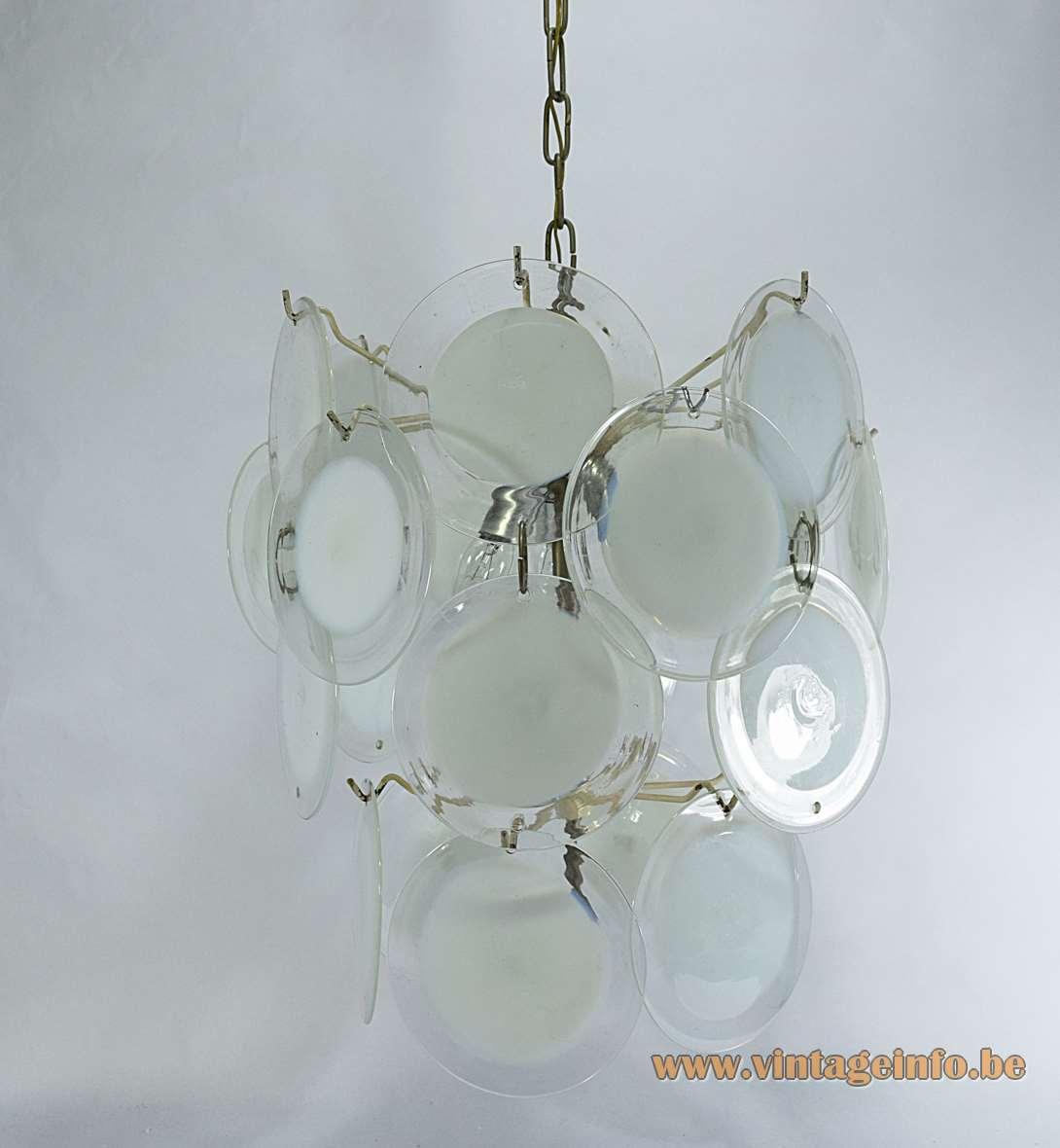 24 white discs murano chandelier 36 glass dishes chrome wire frame Mazzega Vistosi design 1960s 1970s