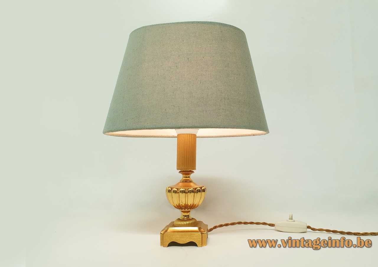 Classic brass Sciolari table lamp square base metal urn conical fabric lampshade 1960s 1970s Italy