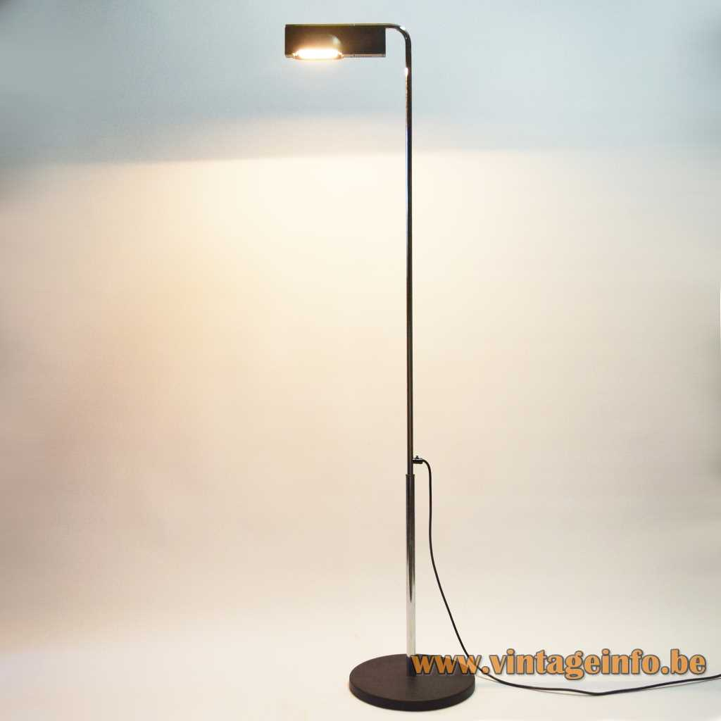 Ernesto Gismondi Camera Terra floor lamp round black base adjustable chrome rod elongated lampshade 1980s Artemide