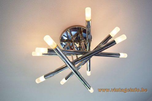 Gaetano Sciolari 3 chrome tubes flush mount 6 tubes version 12 E14 lamp sockets 1970s Belgium