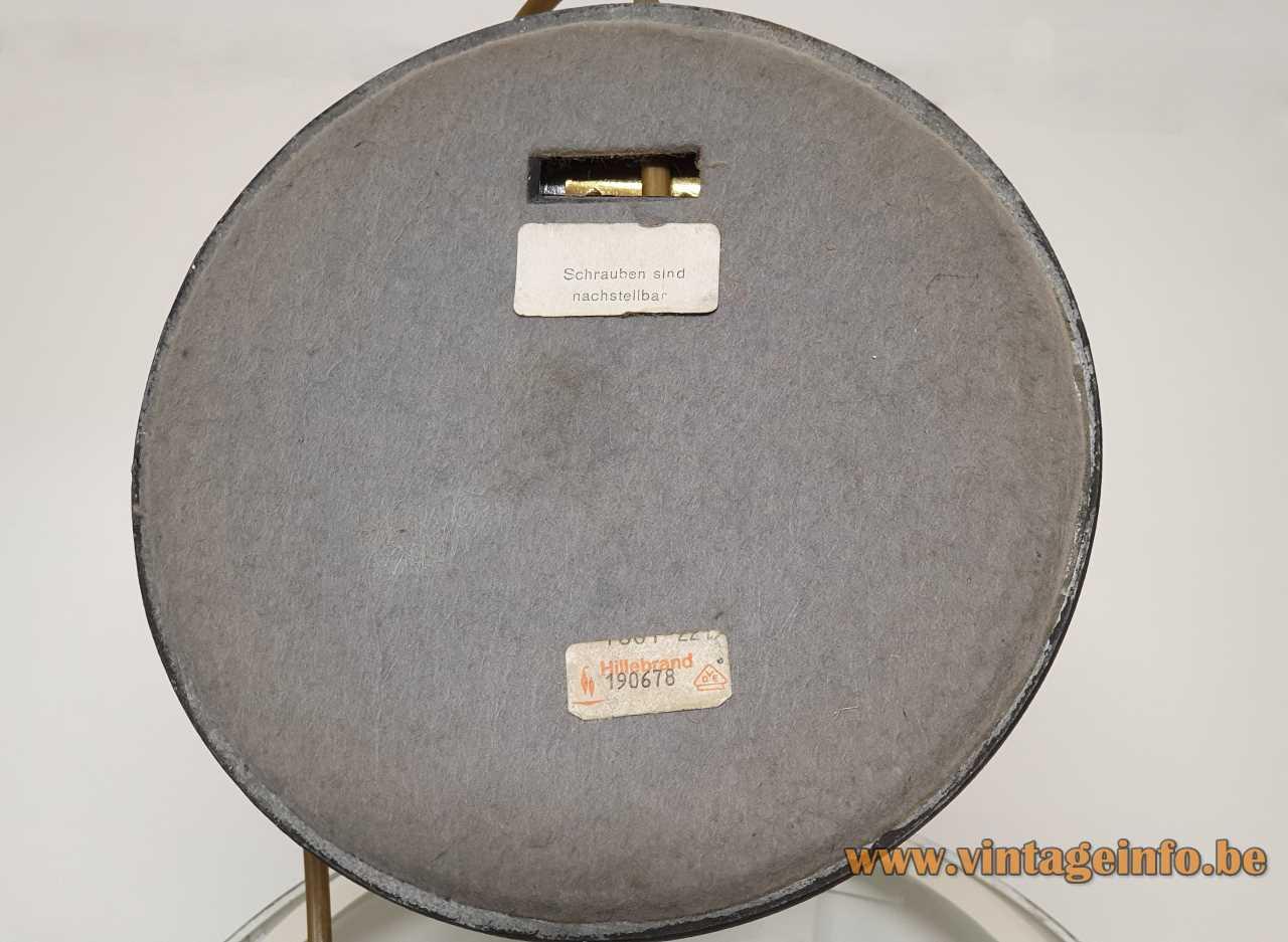 Heinz Pfaender Hillebrand desk lamp grey felt bottom Hillebrand-Leuchten label 1960s 1970s Germany
