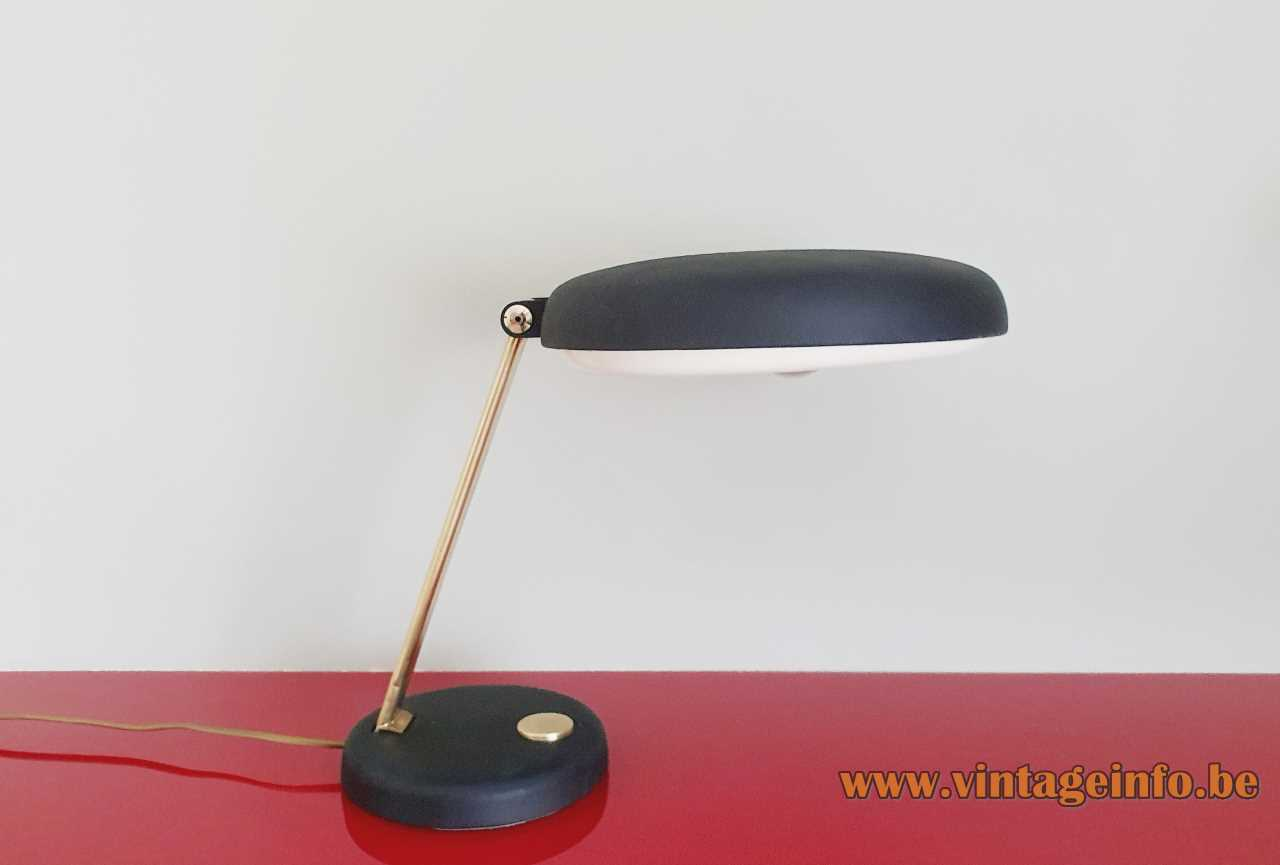 Heinz Pfaender Hillebrand desk lamp black round base & lampshade big switch brass slat 1960s 1970s Germany