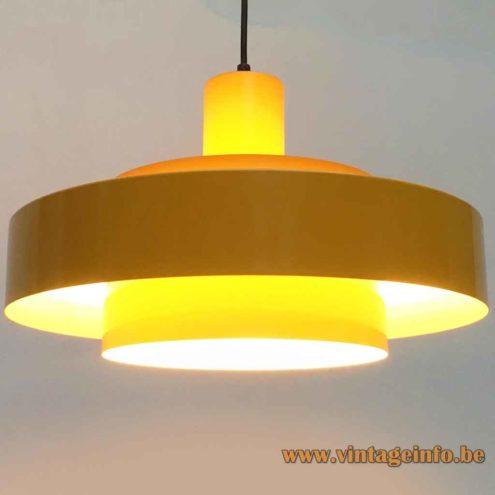 Jo Hammerborg Equator Pendant Lamp - Yellow Version - 1968 Design, Fog & Morup, Denmark