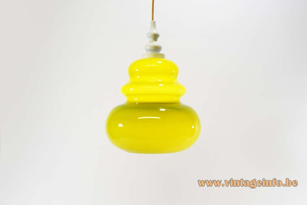 Lime green pendant lamp rounded curved glass lampshade white wood top 1960s 1970s Massive Belgium