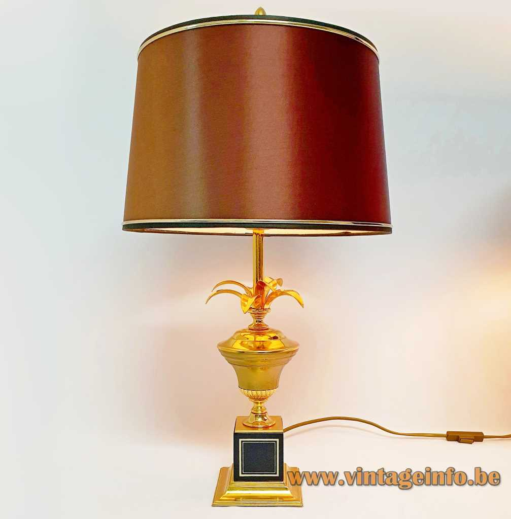 Massive palm table lamp square brass base black cube urn gilded leaves conical lampshade 1990s Belgium