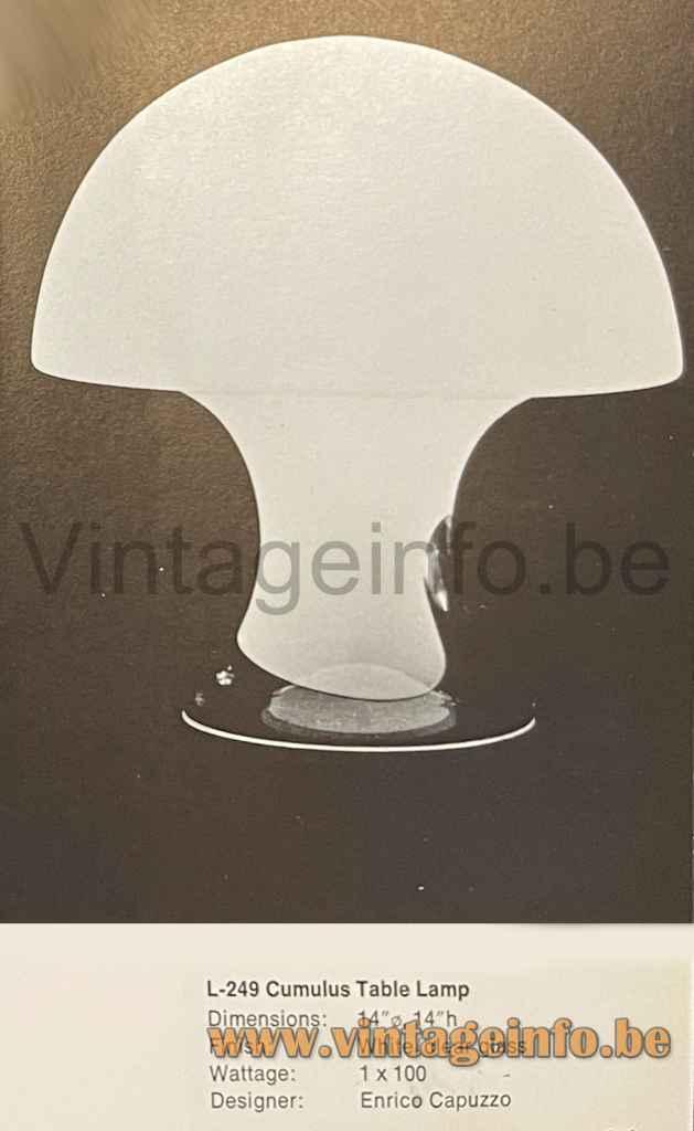 Vistosi Cumulus Table Lamp - 1972 Catalogue Picture - Design: Enrico Capuzzo, Murano, Italy