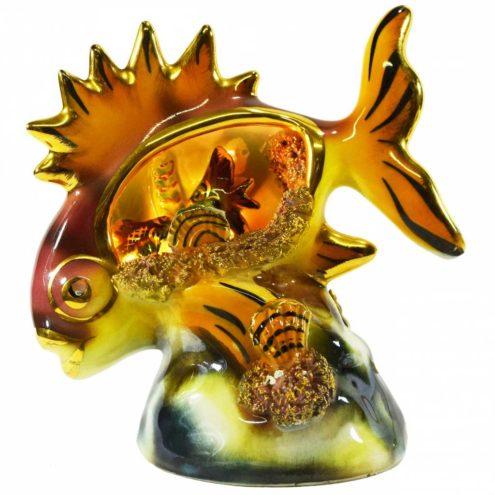 Ceramic fish table lamp tourist souvenir sea kitsch starfish shellfish 1970s Vallauris France E14 socket