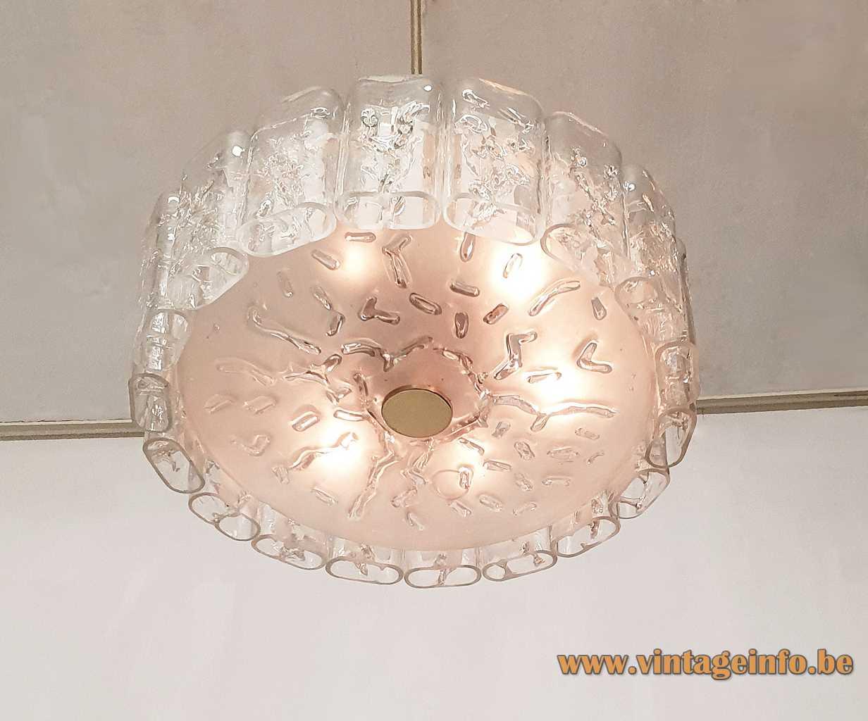 DORIA round ice glass chandelier 18 curved clear blocks big disc brass rod 1970s Germany vintage