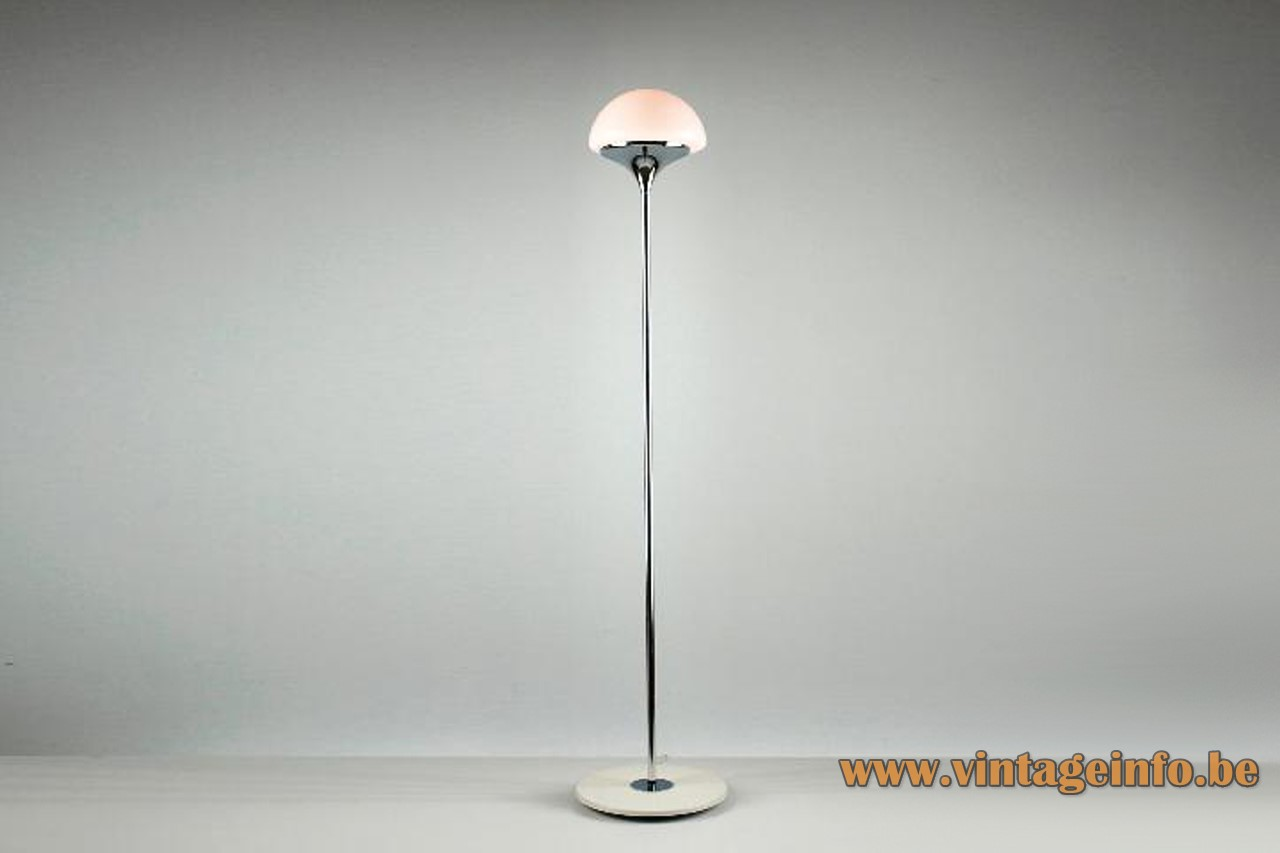 Estiluz chrome floor lamp white round base long rod half round opal glass lampshade 1970s Spain