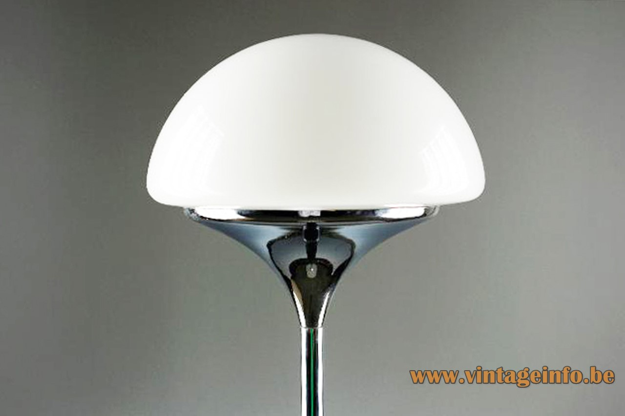 Estiluz chrome floor lamp half round white opal glass globe lampshade 1970s Spain