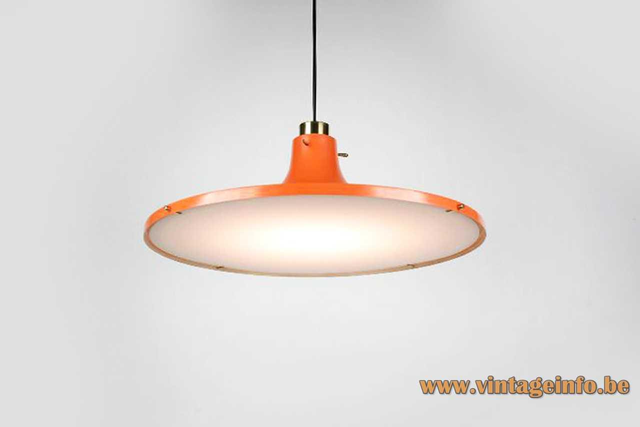 Hans-Agne Jakobsson Metalarte pendant lamp round orange aluminium lampshade white acrylic diffuser 1960s 1970s Spain