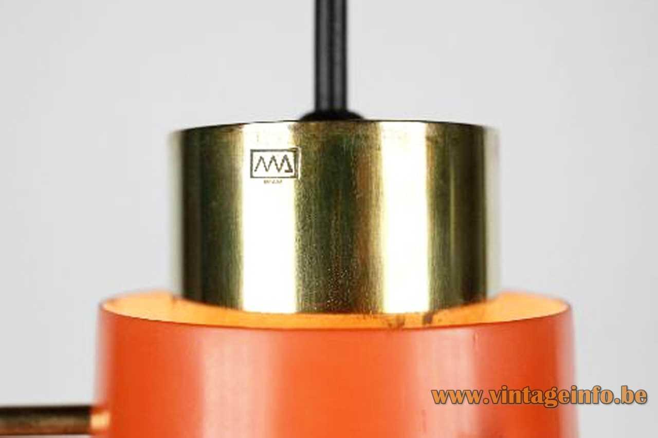 Hans-Agne Jakobsson Metalarte pendant lamp brass tube Metalarte logo label 1960s 1970s Spain